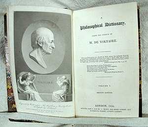 Dictionnaire philosophique - Voltaire; A Philosophical Dictionary. 2nd ed., London: Printed for J. and H.L. Hunt, 1824