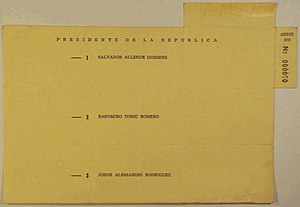 Chilean presidential election, 1970 - Original ballot