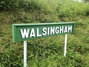 Walsingham (W&WLR) railway station - Station name board.