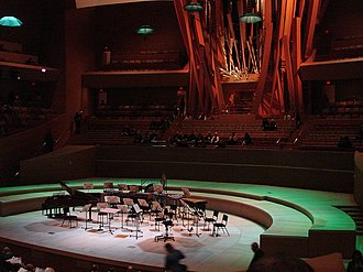 Walt Disney Concert Hall - View of the stage and organ before a concert.