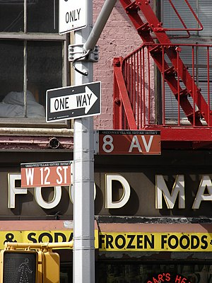 One-way traffic - One-way street sign in New York City