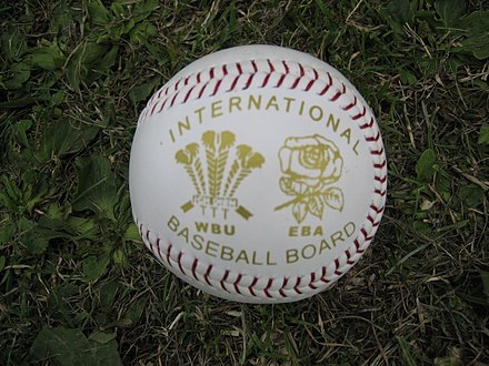 Baseball used in an international match between Wales and England in 2006
