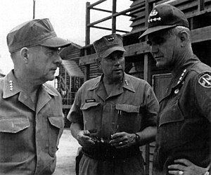 Role of the United States in the Vietnam War - Commandant of the Marine Corps Wallace Greene (left), III MAF commander General Robert Cushman (center), and General Westmoreland (right).