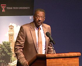 Walter E. Williams speaks at Texas Tech in 2013.jpg