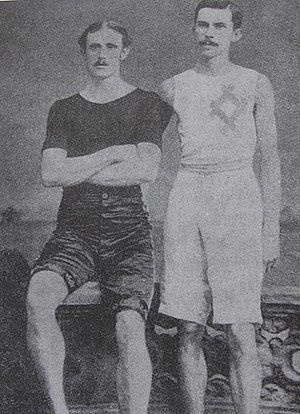 Lon Myers - Myers (on the right), with Walter George