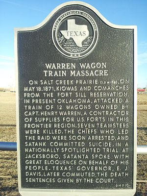 Warren Wagon Train raid - Image: Warren Wagon Train Massacre Texas Historical Marker