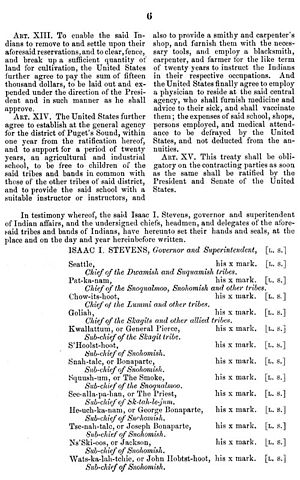 Treaty of Point Elliott - Image: Washington edu Treaty betw. US & Duw. Suq. & other allied, 22Jan 1855, Dwamish 6