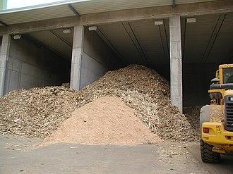 Biomass - Wood waste outside biomass power plant.