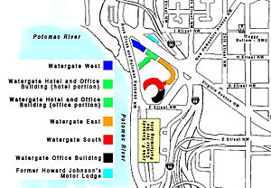 Watergate complex - Map of the Watergate complex, showing the former Howard Johnson's Motor Lodge across the street and the nearby Kennedy Center.