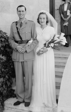 Bridegroom - Groom wearing military uniform, with his bride in 1942