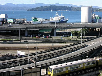 Economy of New Zealand - Highways, rail lines and an inter-island ferry in central Wellington