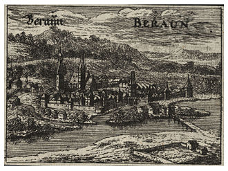 Beroun - Beraun, engraving by Wenceslaus Hollar (1607-1677)