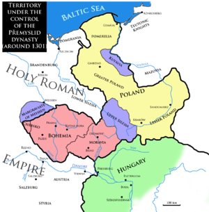 Duchy of Bohemia - Territory under the control of the Přemyslid dynasty around 1301