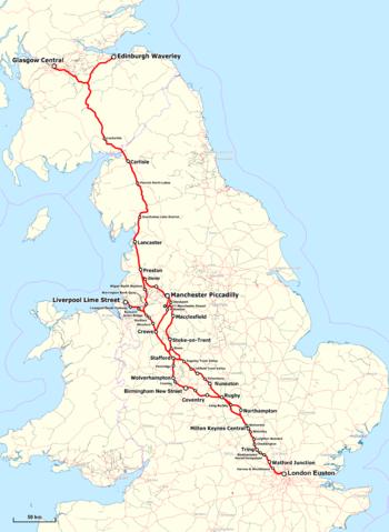 Strecke der West Coast Main Line