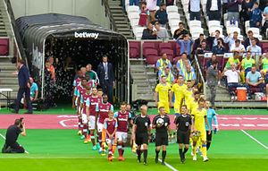 West Ham and Domzale enter the pitch for first ever football game at London Stadium West Ham v NK Domzale London Stadium.jpg