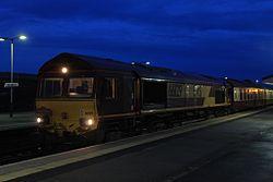 Westbury - DBS 66129 waits for evening departure.JPG