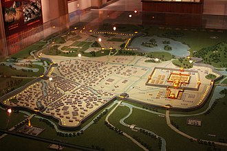 City God (China) - Model reproducing a view of Nanjing in the Ming Dynasty (1368–1644), showing a city wall and moat combination, a model of city defense which had at this point evolved over many centuries, together with the worship of the City God.