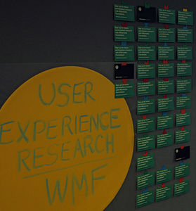 Wikimania 2014 User Experience Research Community Village stall.JPG