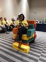 Wikimania 2015-Wednesday-Volunteers play Weasel-Jenga (39).jpg