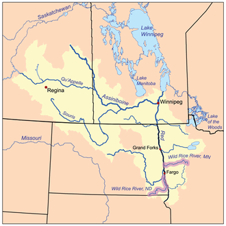 Wild Rice River (Minnesota) - The Red River drainage basin, with both Wild Rice rivers highlighted