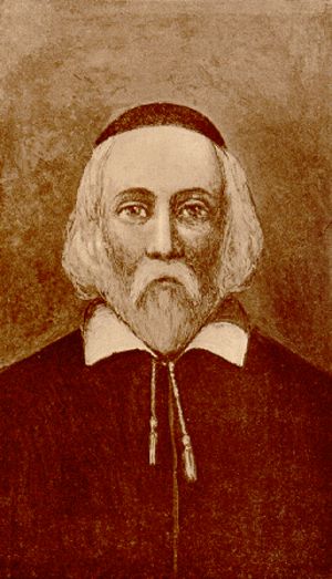 History of the Puritans in North America - Fictional drawing of William Brewster (c1566-1644), one of the leaders of the Pilgrims who helped found the Plymouth Colony in 1620.