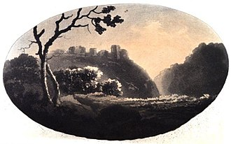 Grongar Hill - William Gilpin's sketch of Dinevawr Castle, illustrating his theory of perspective, 1782