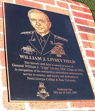 William J. Livsey - The plaque commemorating Livsey adjacent to the William J. Livsey Drill field at the University of North Georgia