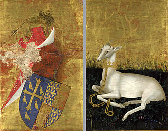 Wilton Diptych - The outer sides of the diptych. Richard's arms of Edward the Confessor's mythical arms impaled with those of the Kings of England (l.) and Richard's white hart emblem (r.)