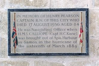 1889 Apia cyclone - Memorial tablet to Henry Pearson (died 1936) in Winchester Cathedral, with a reference to HMS Calliope and the storm