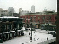 De historische wijk Gastown in de winter