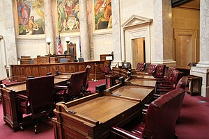 Wisconsin State Senate - Image: Wisconsin State Senate Chairs and Podium