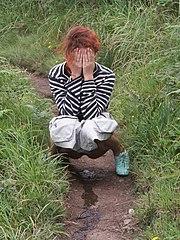 Peeing bushes Girls behind