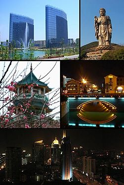 Clockwise from top: Wuxi National Software Park, Grand Buddha at Ling Shan, Kuatang Bridge, Downtown Wuxi, Nianqu Pagoda at the Plum Garden