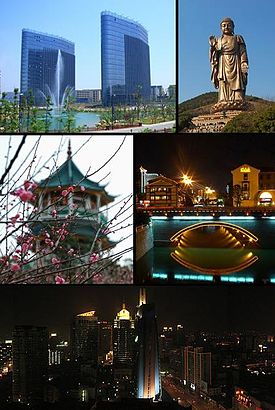 Clockwise from the top left: Wuxi International Software Park, the Ling Shan Grand Buddha on Mt. Longshan, night on the Kuntang Bridge over the old Grand Canal, downtown Wuxi, and the Meiyuan Nianpo Pagoda on Lake Tai.