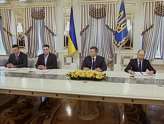 Agreement on settlement of political crisis in Ukraine - Signing the Agreement on settlement of political crisis in Ukraine. 21 February 2014.