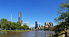 Overlooking the Yarra River is the City Skyline of Melbourne