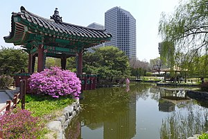 Yeouido Park - A pond and pavilion in the park, April 2015.