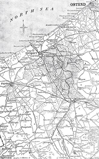 Operation Hush - Image: Yser inundations and western approaches to Houthoulst Forest, 1914