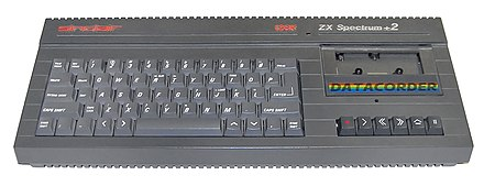 The ZX Spectrum +2. This was the first new Spectrum model released by Amstrad after their purchase of the range. ZX Spectrum Plus2 (retouched).jpg
