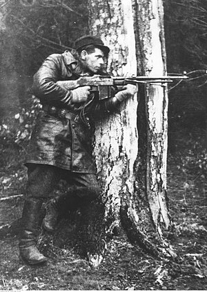 "Polish contribution to World War II - Polish forest partisan Zdzisław de Ville ""Zdzich"", member of AK ""Jędrusie"" with Browning wz.1928"