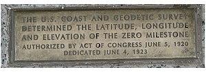Zero Milestone - Zero Milestone. Inscription on brass plate embedded on ground near the monument.