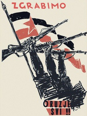 "Yugoslav Partisans - ""To arms, everyone!"", a Partisan propaganda poster."