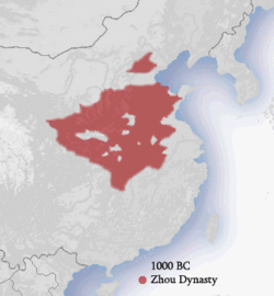 Population concentration an boondaries o the Wastren Zhou dynasty (1050–771 BC) in Cheenae