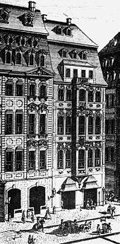 Zimmermannisches Caffee-Hauß (rechts), Ort der Musikalischen Concerten, oder Zusammenkünffte (Quelle: Wikimedia)