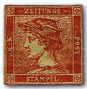 Newspaper stamp - The Red Mercury, a rare newspaper stamp of 1856 Austria.