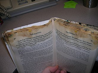 Preservation (library and archival science) - The Flickr user describes an incident of putting a banana stained book in their backpack and leaving it for a couple weeks with this result.