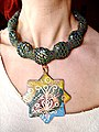 """Concept Necklace ІІІ"" by Lyudmyla Mysko (Ukraine) 2006, copper, enamel, beads.jpg"