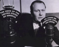 """""""THE VOICE OF THE UNITED STATES OF AMERICA"""" microphone in 1942 and other microphone with the German translation of same phrase, from- William Harlan Hale, first VOA broadcast (cropped).png"""