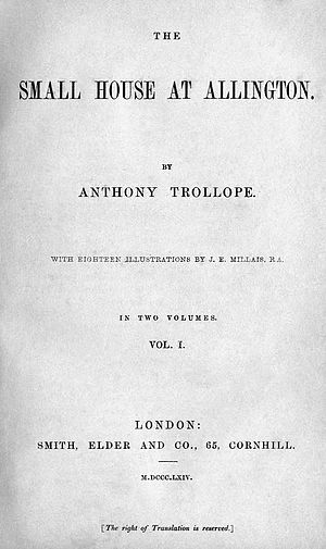 The Small House at Allington - Title page from the first edition in book form.