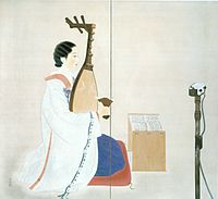 'Biwa Concert' by Shibata Suiha, painted screen, c. 1930, Honolulu Museum of Art.jpg